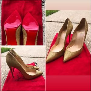 Christian Louboutin gold glitter pigalle follies